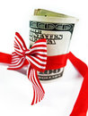 Money gift a wad of us one hundred dollar bills tied up with red and white ribbon isolated on white background close up Stock Photography