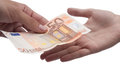 Money giving euro from hand to hand Stock Photo