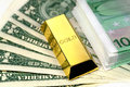 The money  and gold bullion Stock Photo