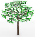 Money growing on trees word on tree branches get rich by picking off despite the saying doesn t grow Stock Photo