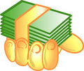 Money in hand icon or symbol Stock Photos