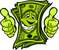 Money with Hands giving Thumbs Up Gesture Cartoon Stock Photo
