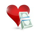 Money heart illustration design over a white background Stock Image