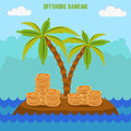 Money hidden on the island in offshore zone. Tax avoidance. Royalty Free Stock Photo