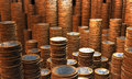Money hoard treasure house full of euro coin towers Stock Photos