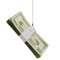 Money on hook stack of cash a fishing isolated white Royalty Free Stock Image