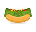 Money hot dog. Bun and stack cash. Financial fast food. Morning Royalty Free Stock Photo