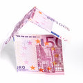 Money house of euro notes conceptual image a with walls and roof made folded isolated on white Royalty Free Stock Photography