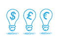 Money icon in the lamp Royalty Free Stock Photo