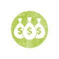 Money icon with three bags, vector pixel symbol Royalty Free Stock Photo