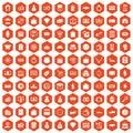 100 money icons hexagon orange