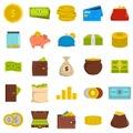 Money icons set, flat style