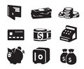 Money icons set isolated vector Royalty Free Stock Images