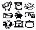 Money icons vector black set on white Royalty Free Stock Photo