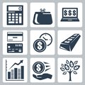 Money icons vector set dark blue Stock Photography
