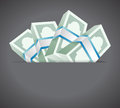 Money inside a pocket illustration design over grey background Royalty Free Stock Photo