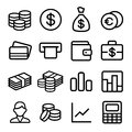 Money ios icon set and coin in style vector illustration Royalty Free Stock Image