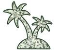 Money on an island little full of Stock Image