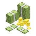 Money isometric vector Royalty Free Stock Photo
