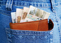 Money and jeans Royalty Free Stock Photo