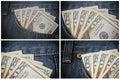 Money in the jeans pocket. Dollars. Twenty-dollar bills set Royalty Free Stock Photo