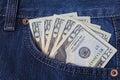 Money in the jeans pocket. Dollars. Twenty-dollar bills Royalty Free Stock Photo