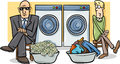 Money laundering cartoon illustration humor concept of saying or proverb Royalty Free Stock Photo
