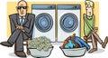 Money laundering cartoon illustration Royalty Free Stock Photo