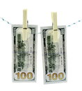 Money laundering concept dirty banknotes hanging on a rope to dry clothes Royalty Free Stock Photos