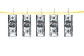 Money laundering and dry after wash hang on clothespins isolated white background Royalty Free Stock Photography
