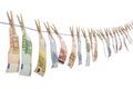 Money laundering euro banknotes hanging on the washing line Royalty Free Stock Photography