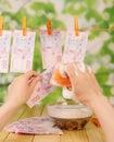 Money laundering the female hand washing dirty bills Royalty Free Stock Photo