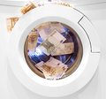 Money laundering illegal cash euros and pounds Royalty Free Stock Photo