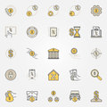 Money and leasing colorful icons
