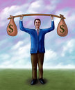 Money lifting Royalty Free Stock Photo