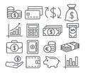 Money Line Icons Royalty Free Stock Photo