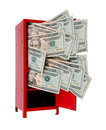 Money in locker large sums of a red Stock Photography