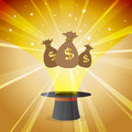 Money magic hat vector illustration of financial concept Royalty Free Stock Images