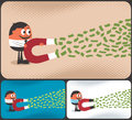 Money magnet cartoon character attracting with the illustration is in color versions no transparency and gradients used Royalty Free Stock Images
