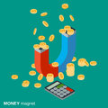 Money magnet, investments attracting, funds accumulation vector concept Royalty Free Stock Photo