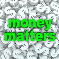 Money matters words dollar sign currency background the on a of signs and symbols Royalty Free Stock Photos
