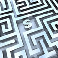 Money in Maze - Dollar Sign in Middle Stock Photos