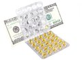 Money on medicines isolated Stock Photo