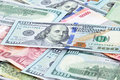 Money in multi currencies with usd bill on top banknote Royalty Free Stock Photo