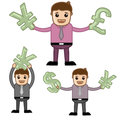 Money office and business people cartoon character vector illustration concept drawing art of businessman holding currency symbols Royalty Free Stock Image