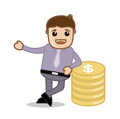 With money office and business people cartoon character vector illustration concept drawing art of young businessman standing gold Royalty Free Stock Photo