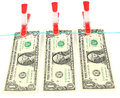 Money one dollar bills hanging on rope Royalty Free Stock Photo
