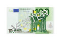 Money - One hundred (100) Euro bill front with German lettering Muster (specimen) Royalty Free Stock Photo