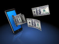 Money from phone d illustration of mobile with over black background Royalty Free Stock Image