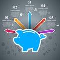 Money pig bank piggy icon vector flat coin save illustr Royalty Free Stock Photo